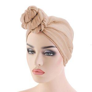 Designers Women Knot Bonnet Cap Hijab Soft Tie Fashion Muslim Turban Hat Arab Head Wrap Scarf Long Hair Solid Headband