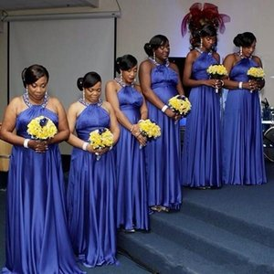 Blue Bridesmaid Dresses 2021 Cheap Elastic Satin Beaded Halter Custom Made Plus Size Maid of Honor Gown Country Wedding Formal Party Wear