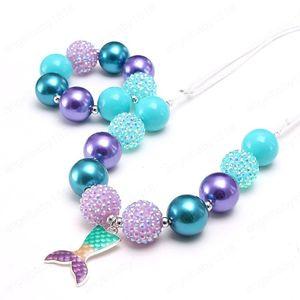 Neue Cartoon Meerjungfrau Schwanz Anhänger Halskette Chunky Perlen Halskette Armband Einstellbare Seilschmuck für Party Geschenk