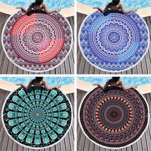 Mandala Beach Towel 150cm Round Beach Blanket Towel Fabric Printed Tablecloth Bohemian Tapestry Yoga Mat Covers FWD4941
