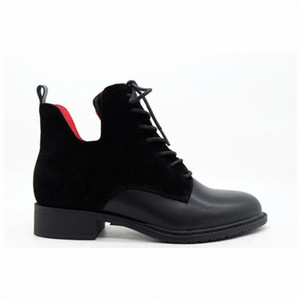 Fashion Women Black Leather Suede Red Lining Temperament Round Head Bandages Cylinder Boots Thick Short Boots Boot Ankle Boots From , 29yV#