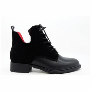 Moda Mujeres Negro Cuero Suede Rojo Forro Temperamento Cabeza Redonda Vendajes Cilindro Botas Cortas Gruesas Botas de tobillo de botines de, 29YV #