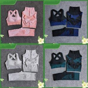 Fitness Costumes Yoga Femmes Outfits 3PCS Ensembles à glissière Long Sport Pantalon de sport Bra + Jambières sans soudure Entraînement Running Wear Gym Set Y057 366 x2