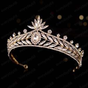 Fashion Luxury Crystal Bridal Crown Tiaras Light Gold Diadem Tiaras Women Bride Headdress Wedding Hair Accessories