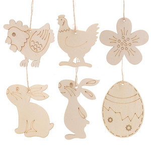 Easter Wooden Tag With Rope Hanging Pendant Ornament Easter Egg Bunny Flower Home Decoration Party Supplies JK2002