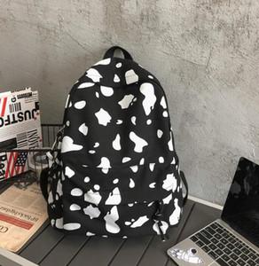 30pcs Women Nylon Cow Prints Large Capacity Sport Backpack Bag White Black Zipper Travel Cross body Bag