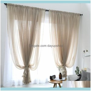 Deco El Supplies Home Garden300Cm Height Pure Color Curtain Living Room Window Finished Tulle Sheer Voile Curtains For Bedroom Rideaux Voila