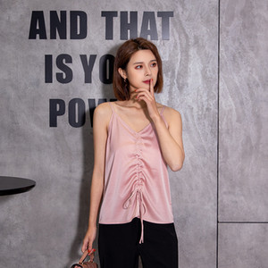 Spring and summer vest suspender women's sexy silk elastic drawstring top bottomed shirt versatile backless blouse 5913