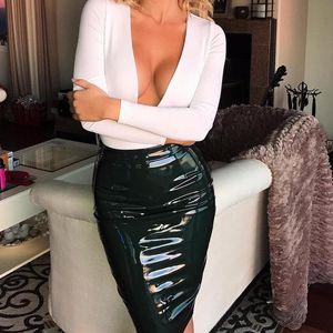 Skirts 2021 Women Sexy Mini Elegant Bodycon Latex Skirt High Waist Pencil PU Patent Leather Black Office Short Female
