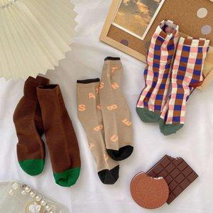 Creative new Plaid socks children's middle tube ins Scottish style versatile student autumn and winter