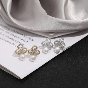Popular sweet temperament Prague Korean creative Pearl Flower Zircon Earrings