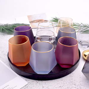 Creative Color Frosted Six Sided Whiskey Glass Spirits Glasses Home Phnom Penh Water Glass Juice Cup Diamond Glass GWD4982