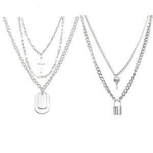 New products exaggerate multi-layer lock key Cross Set Necklace trendsetter hip-hop clavicle chain
