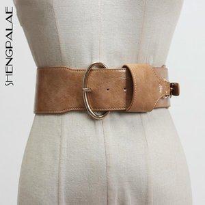 Shengpalae 2021 nuevo pasador de metal hebilla PU cinturón de cuero mujer moda brillo ancho correa correa de moda cintura femenina femenina PF579