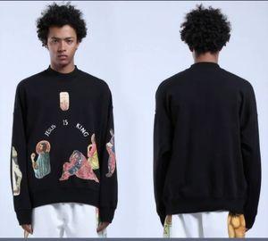 2021 Nouvelle Kanye West Hoodie Hommes Femmes Mode Digital Injection Sweatshirts Faire face Jésus est King Pullover IV3J