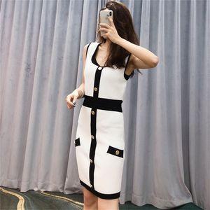2021 spring new women's style slim knitting bag hip skirt sleeveless vest single breasted dressli