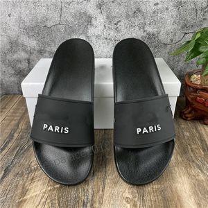 Paris homens mulheres sandálias verão praia slides chinelos senhoras flip flops loafers home office slides impressão couro sólido cor sólida 36-46 com caixa