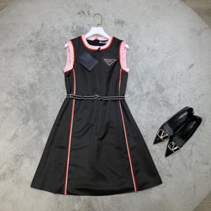 Vestido de la pista de Milán 2021 Spring Summer O cuello vestido de diseñador con paneles Marca Mismo estilo vestido 0223-3