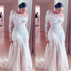 Plus Size Mermaid Wedding Dresses Unique One Shoulder Long Sleeve Lace Bridal Gowns Beach Wedding Dress vestidos de novia
