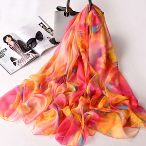 New Chiffon scarves summer thin versatile, super large sunscreen and versatile shawl, beach towel, women's long shawl