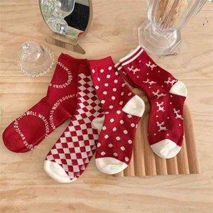 Socks children's autumn and winter new middle tube design elk red elements lovely girl Christmas socks