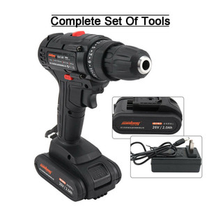 New product !! 26V Powerful Cordless Drill with 2.0Ah Li-Ion Battery Portable Repair Tool 1pc
