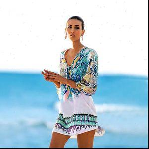 Womens Sheer Bikini Floral Cover Up Swimwear Swimsuit Bathing Suit Summer Lantern Sleeve Waist Beach Chiffon Beach Dress Hot