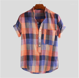 Sleeve Single Breasted Polo Shirts Fashion City Style Mens Clothing Summer Male Designer Tees Plaid Short
