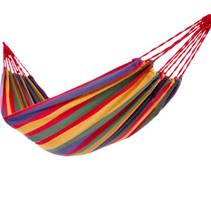 280*100mm 2 Persons Striped Hammock Outdoor Leisure Bed Thickened Canvas Hanging Bed Sleeping Swing Hammock For Camping Hunting 69 W2