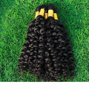 Malaysian Kinky Curly Bulk Hair Weave 3 Bundles Full Tips Unprocessed Kinky Curl Human Hair Extensions In Bulk For Braids No Weft