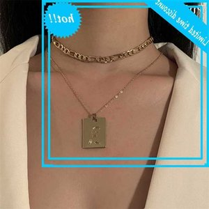 Vintage Multi Layers Craved Letter Peandant for Women Gold Color Fashion Chunky Chain Chocker Necklace Jewelry Gift
