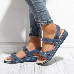 2021 Tino Kino Mulheres Ankle Buckle Strap Sandálias Verão Novas Senhoras Lasas Open Open Toe Shoes Plus Size Casual Moda TOXM TP7B