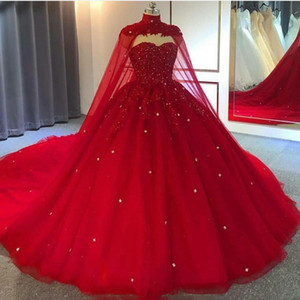 Red Ball Gown Wedding Dresses With Wrap Sweetheart Lace Crystal Bead Robe De Mariee Custom Made Arabic Wedding Gowns