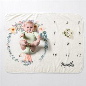 Baby Milestone Blanke Flanel Couvertures Travel Accueil Climatisation Couverture imprimée Baby Couverture de bébé Photographie Props Serde expédition GWB5082