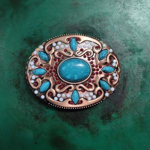 1 Pcs Turquoise Stone Vintage Men's Western Cowboy Belt Buckle Fit 4cm Wide Jeans Belt Head
