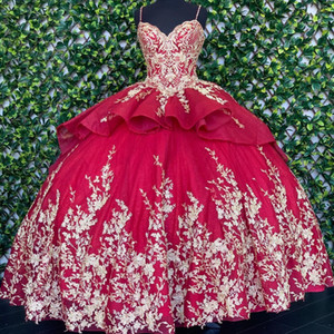 Gorgeous Wine Red Gold Flowers 2021 Charro Mexican XV Quinceanera Prom Dresses with Straps Ruched Ball Gown Sweet 16 Dress Vestidos 15 Anos