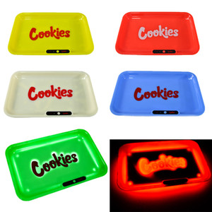 Ship by sea Cookies Backwoods LED Rolling Trays Rechargeable Glow In The Dark Ashtray Cigarette Holder Smoking Accessories LED02