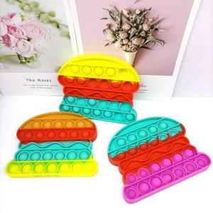 Rainbow Hamburg Shape Push Pop Fidget Bubble Popper Pop It Stress Reliever Autism Sensory Silicone Squeeze toy Table Game Gift 2021 G22204
