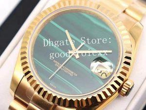 Two styles Men's 36mm Green Malachite Dial Watches Automatic 2824 Mechanical Watch Men Date Yellow Gold 904L Steel 116238 Eta Wristwatches