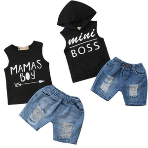 Emmababy Cool Kids Boys Baby Boss Clothes Summer Hoodie T-Shirt Top Ripped Jeans Outfit 2pcs C0225