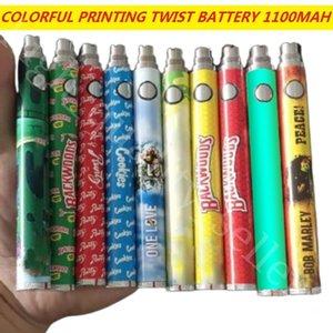 Impresión colorida Batería de giro Backwoods COO RUNTZ 1100mAH Voltaje variable Ajustable Vape Blister Kit con cargador USB