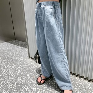 SK New Korean INS Summer Spring Kids Girls Jeans Denim Trousers Streetwears Jeans Girls Fashions Casual Denim Trousers Children Clothes