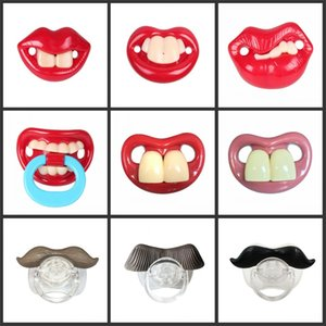 100pcs Cute Funny Dummies Pacifier Baby Novelty Maternity Toddler Child Teething Nipples funny Moustache tooth Pacifiers 155 Y2