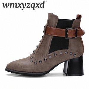 Botas Invierno Mujer Зимние заклепки Кожаные ботильоны для лодыжки Женщина Высокие каблуки Смешанные цвета Теплые леди Booties Большой размер 33 48 WMXYZQXD O4TE #