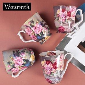 WourMth High Bone Porcelana Elegante taza de café europeas Tazas de leche con tazas de rímes de oro Cerámica de alta calidad Cerámica 260ml