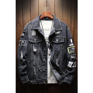 Men's Jackets Mens And Coats Black Holes Denim Fashion Men Spring Autumn Loose Casual Jean Outwear