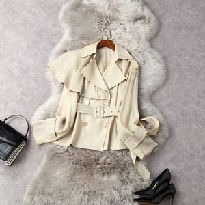 2021 Spring Long Sleeve Notched-Lapel Light Khaki Belted Ruffle Double-Breasted Trench Coat Elegant Short Outwear Coats LF0711835