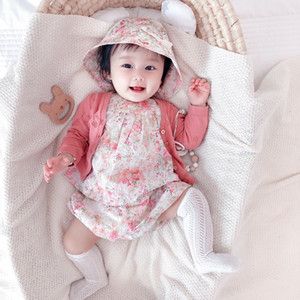 Cute Baby Girls Set Clothes 2021 Fashion Cute Cherry Prints Toddler Kids dress+ short+ Hat+cardigan 4pcs suit tops