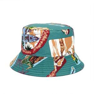 2021 Pamuk Yeni Stil Moda Baskı Kova Şapka Balıkçı Şapka Açık Seyahat Şapka Güneş Kap Şapka Erkekler ve Kadınlar için 392