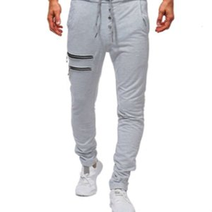 Mens Solid Color Joggers with Zippers Buttons Male Casual Athletic Pancil Pants Fitness Thin Sweat Pants